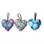 "Set 3 decoratiuni de Craciun ""Inimi asortate"" - Amma"