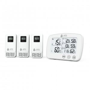 Termometru si higrometru digital cu 3 transmitatoare wireless externe TRIO - Airbi